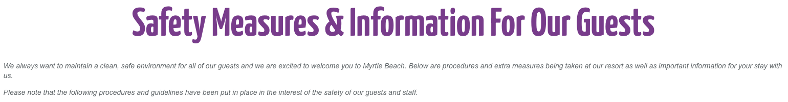 safety measures and information for hotels
