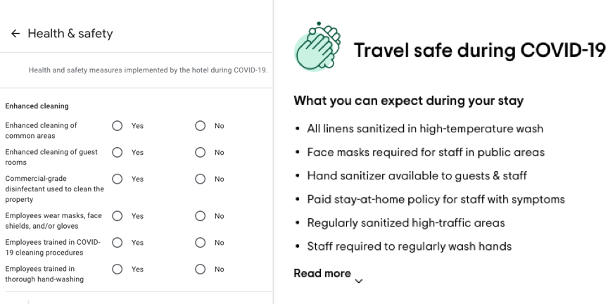 google my business and tripadvisor health and safety measures