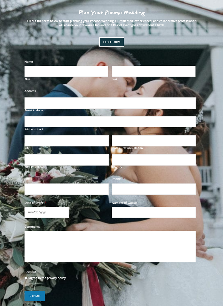 Wedding request Gravity Form example